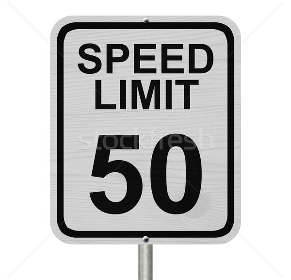 Limite de velocidade 50 assinar branco americano placa sinalizadora Foto stock © karenr