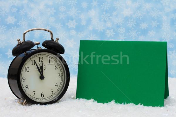 Noel zaman çalar saat yeşil kart kar Stok fotoğraf © karenr