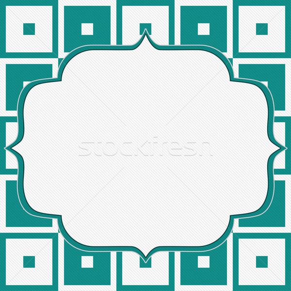 Teal and White Tapestry Square Fabric Background  Stock photo © karenr