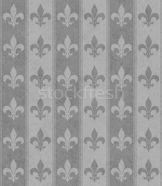 Gray Fleur De Lis Textured Fabric Background Stock photo © karenr