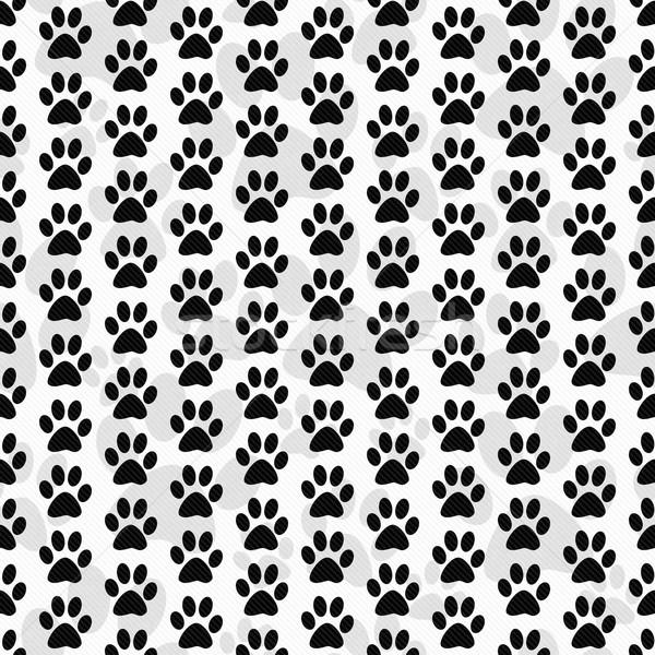 Blanco negro perro pata azulejo patrón repetir Foto stock © karenr