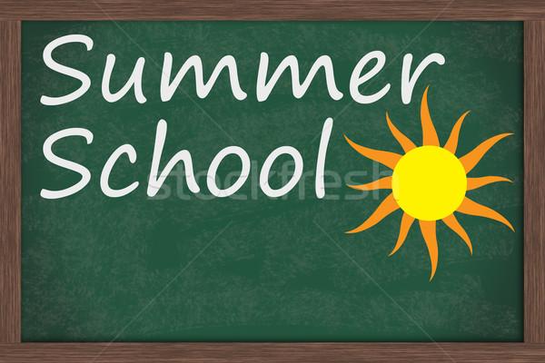 Verano escuela pizarra palabras dibujo sol Foto stock © karenr