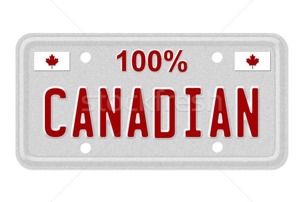 100 procent kentekenplaat woorden Rood geïsoleerd Stockfoto © karenr