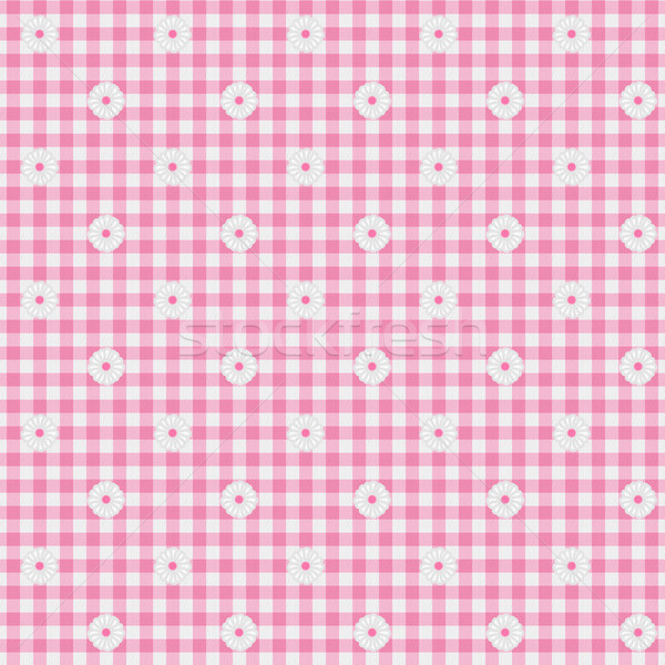 Pink Gingham Fabric with Flowers Background Stock photo © karenr