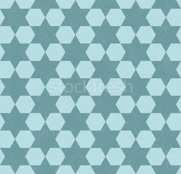 Teal Hexagon Patterned Textured Fabric Background Stock photo © karenr