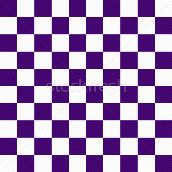 Dark Purple and White Checkers on Textured Fabric Background Stock photo © karenr