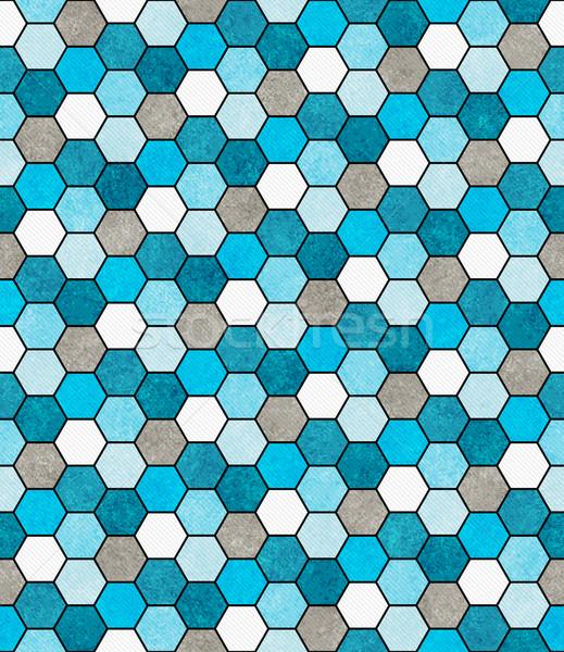 Blauw witte grijs zeshoek mozaiek abstract Stockfoto © karenr