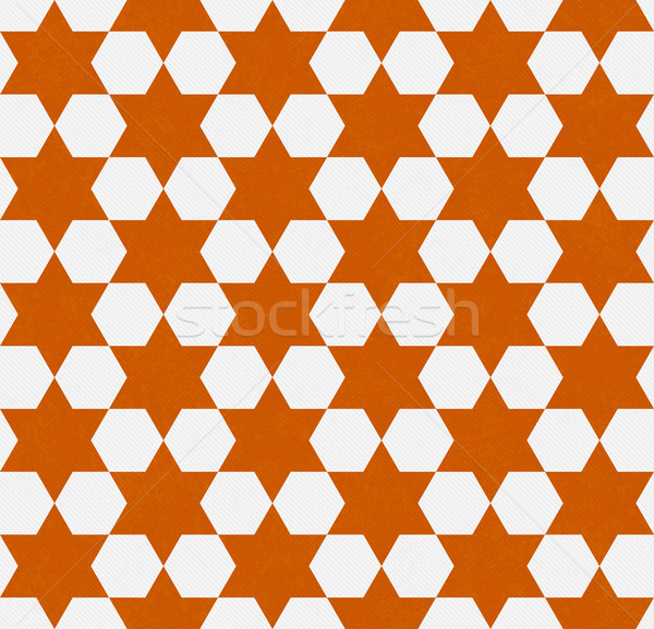Orange and White Hexagon Patterned Textured Fabric Background Stock photo © karenr