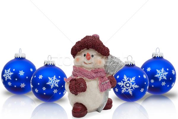 Natal tempo boneco de neve isolado branco Foto stock © karenr