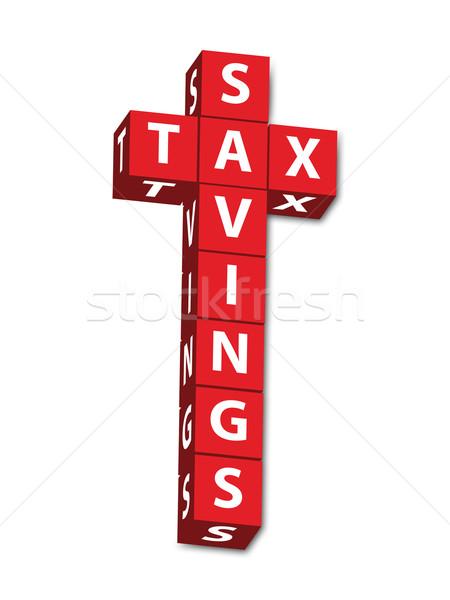 Imposto poupança vermelho cartas palavras isolado Foto stock © karenr
