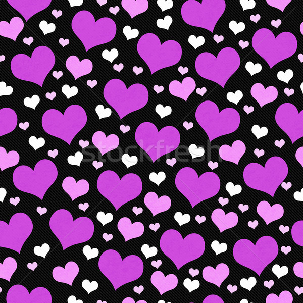 Purple, White and Black Hearts Tile Pattern Repeat Background Stock photo © karenr