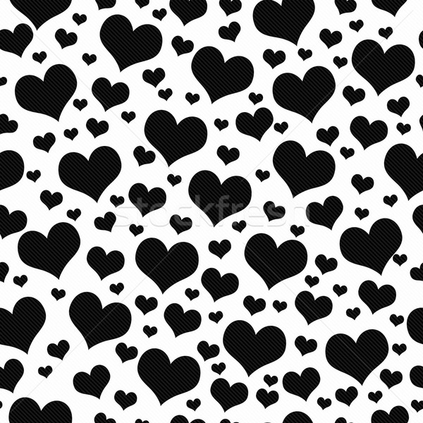Black and White Hearts Tile Pattern Repeat Background Stock photo © karenr
