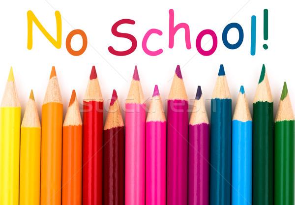 Geen school potlood krijt grens geïsoleerd Stockfoto © karenr
