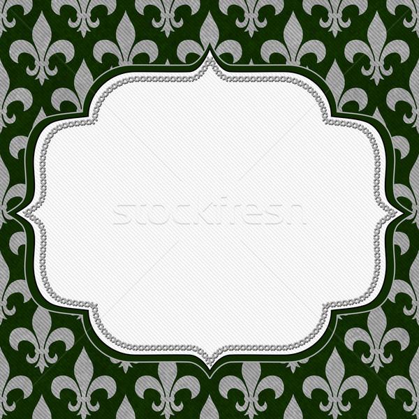 Green and Gray Fleur De Lis Textured Fabric Background Stock photo © karenr
