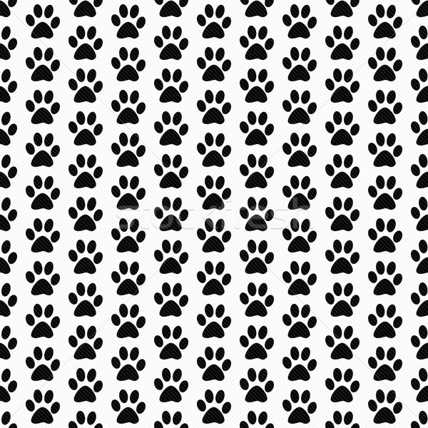 Black and White Dog Paw Prints Tile Pattern Repeat Background Stock photo © karenr