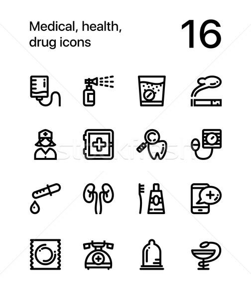 Medical, health, drug icons for web and mobile design pack 3 Stock photo © karetniy