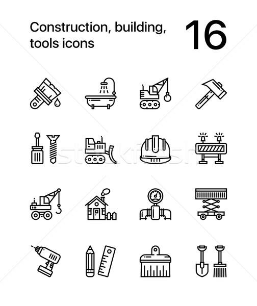 Stock fotó: építkezés · épület · szerszámok · végtelenített · vektor · skicc