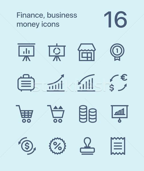 Финансы бизнеса деньги иконки веб Сток-фото © karetniy