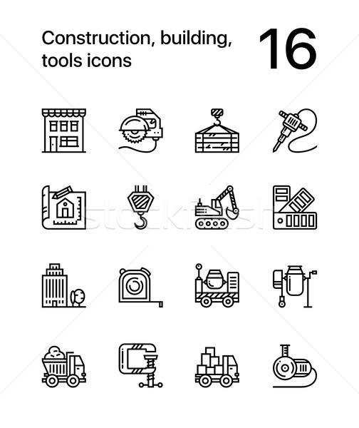 Stock foto: Bau · Gebäude · Werkzeuge · Vektor · Gliederung