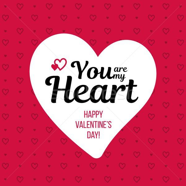 Boldog valentin nap kártya fehér szív vektor Stock fotó © karetniy