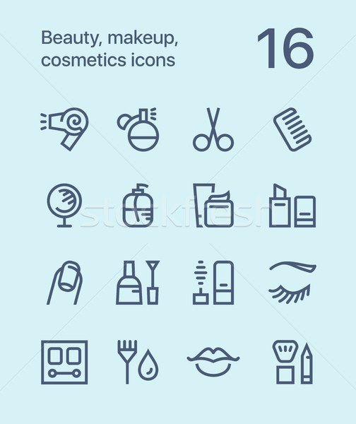 Outline Beauty, cosmetics, makeup icons for web and mobile design pack 1 Stock photo © karetniy
