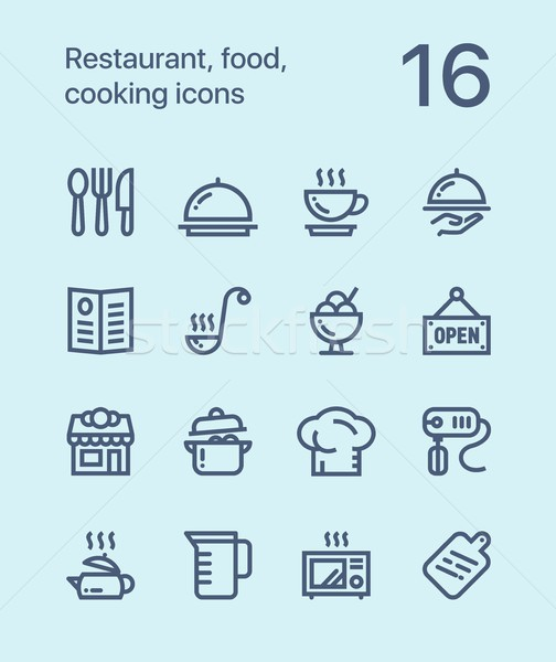 Outline Restaurant, food, cooking icons for web and mobile design pack 1 Stock photo © karetniy