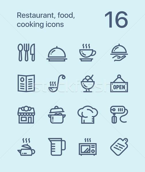 Skicc éttermi étel főzés ikonok háló mobil Stock fotó © karetniy