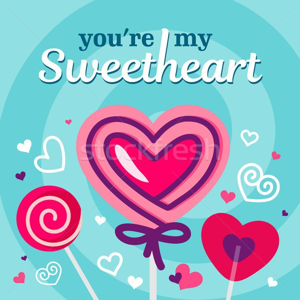 Stock photo: Love and Valentines day card with pink candy and heart vector background poster