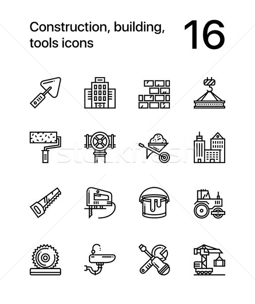 Construction, building, tools seamless vector outline icons for web and mobile design pack 1 Stock photo © karetniy