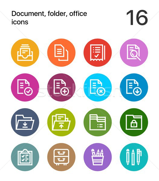 Colorful Document, folder, office icons for web and mobile design pack 1 Stock photo © karetniy