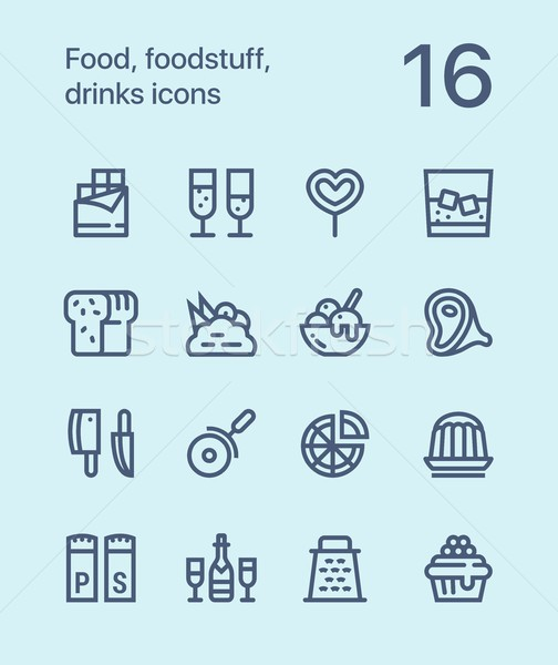 Outline Food, foodstuff, drinks icons for web and mobile design pack 3 Stock photo © karetniy