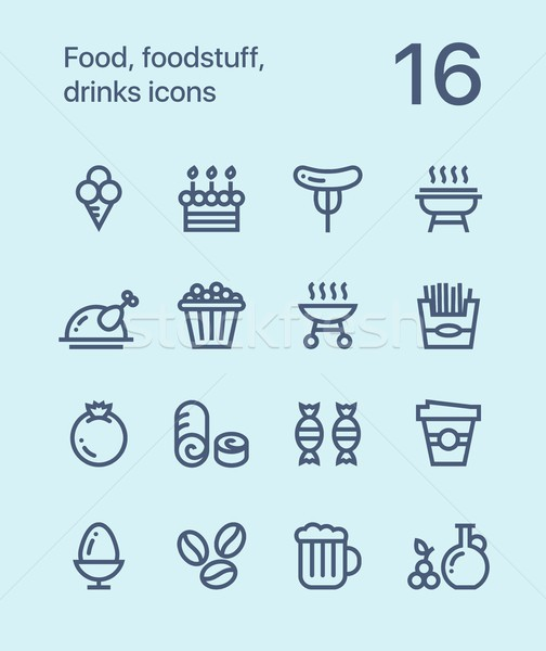 Outline Food, foodstuff, drinks icons for web and mobile design pack 4 Stock photo © karetniy