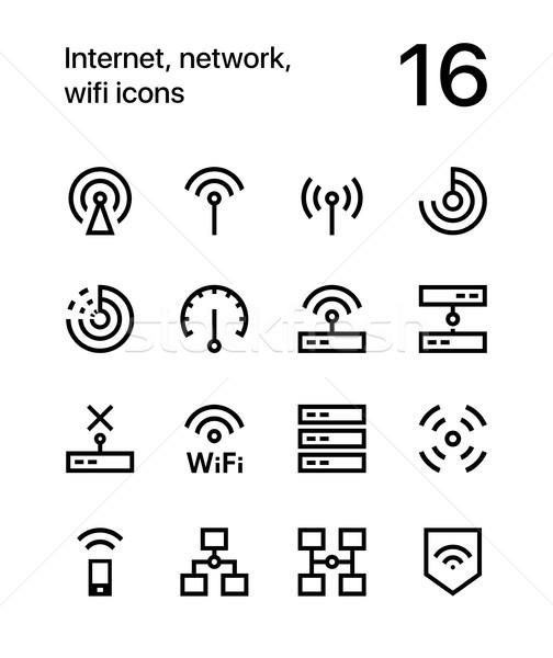 Internet hálózat wifi ikonok háló mobil Stock fotó © karetniy