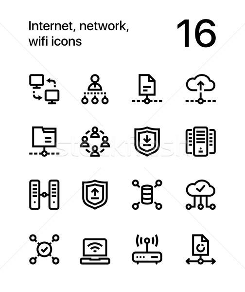 интернет сеть wi-fi иконки веб мобильных Сток-фото © karetniy