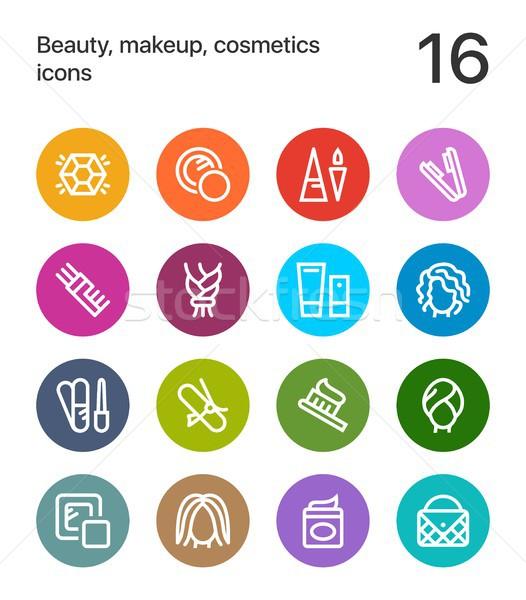 Színes szépség kozmetika smink ikonok háló Stock fotó © karetniy