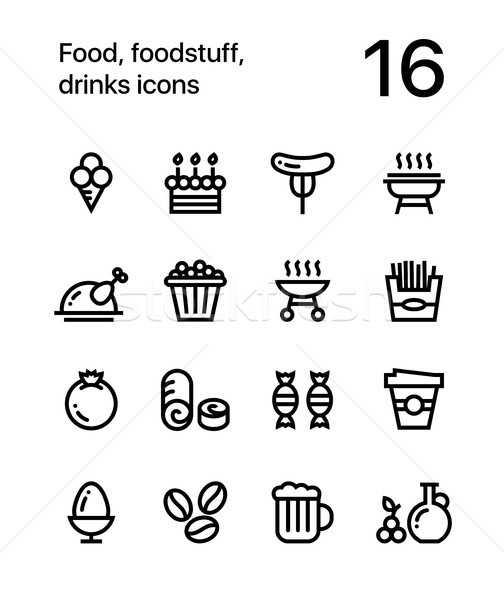 Food, foodstuff, drinks icons for web and mobile design pack 4 Stock photo © karetniy