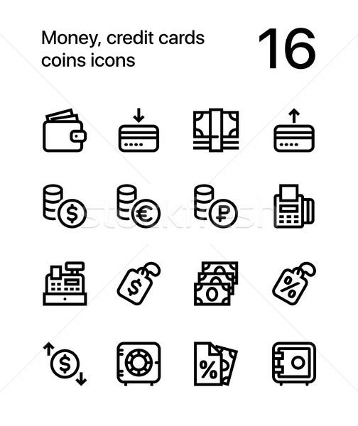 Argent carte de crédit pièces icônes web mobiles Photo stock © karetniy