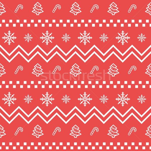 Christmas bezszwowy geometryczny wzór zimą wakacje Zdjęcia stock © karetniy