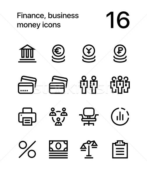 Финансы бизнеса деньги иконки веб мобильных Сток-фото © karetniy