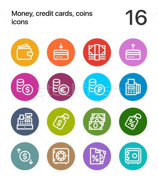 красочный деньги кредитные карты монетами иконки веб Сток-фото © karetniy