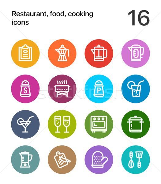 Coloré nourriture de restaurant cuisson icônes web mobiles Photo stock © karetniy