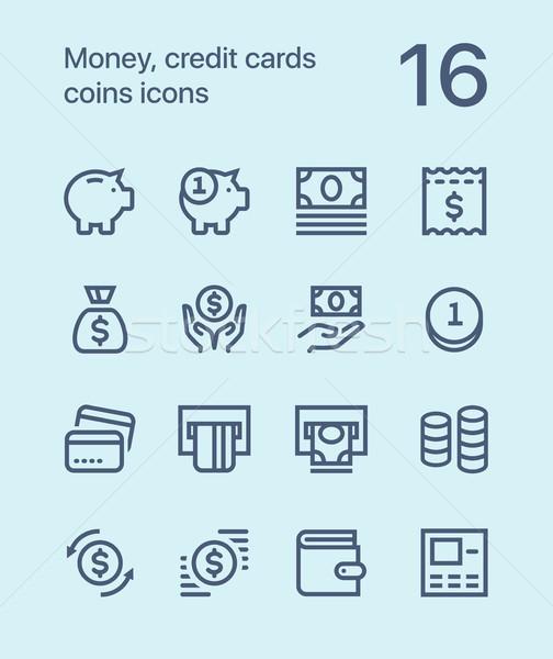деньги кредитные карты монетами иконки веб Сток-фото © karetniy