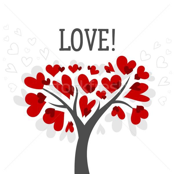 Amour saint valentin carte arbre rouge coeur Photo stock © karetniy