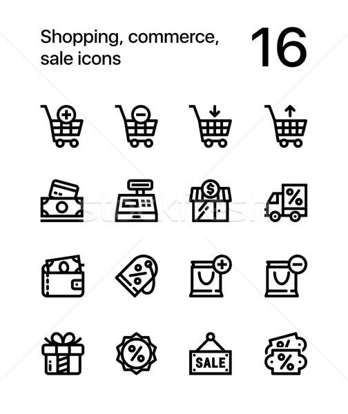 Shopping commerce vente icônes web mobiles Photo stock © karetniy