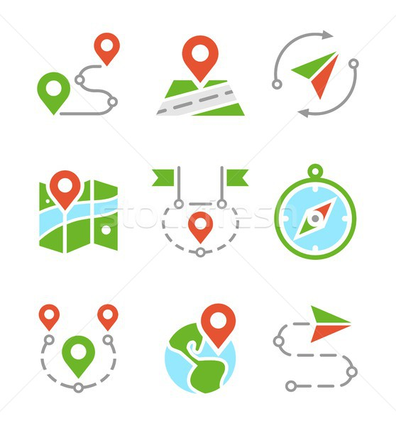 Stock photo: Geo location, travel, journey, map marker flat colored vector icons