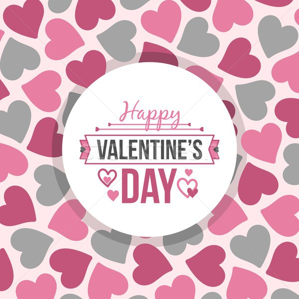 Happy Valentines day card with pink and grey heart vector background pattern Stock photo © karetniy