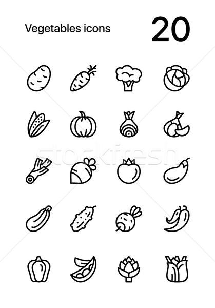 Légumes alimentaire ligne vecteur web Photo stock © karetniy
