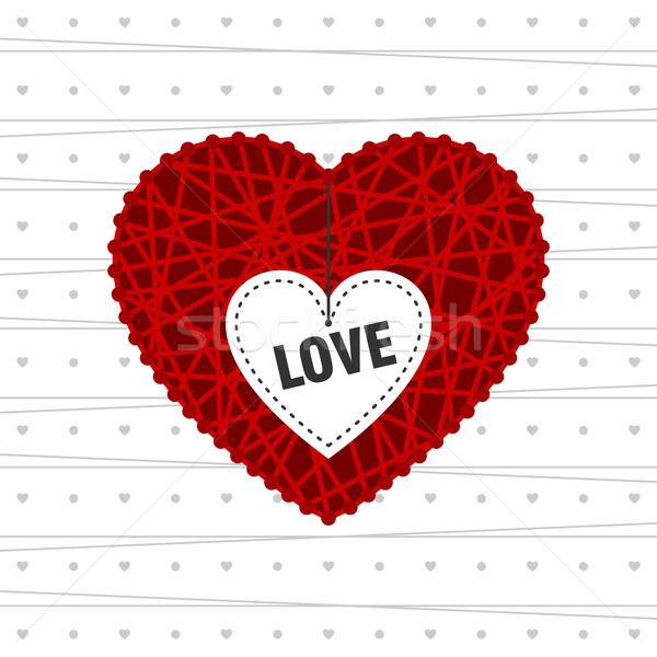 Szeretet valentin nap kártya nagy piros fehér Stock fotó © karetniy