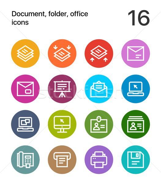 красочный документа папке служба иконки веб Сток-фото © karetniy