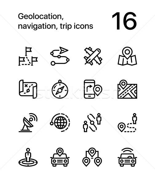 Navigáció utazás ikonok háló mobil terv Stock fotó © karetniy